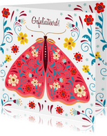 Kleurige verjaardagskaart vlinder met sierlijke bloemen