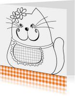 Kleurplaat kaart kat bloem