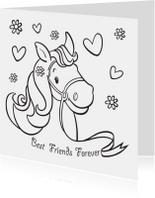 Kleurplaat kaarten - Kleurplaat kaart paard BFF