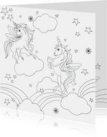 Kleurplaat unicorn regenboogjes
