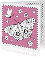 Kleurplaat-Vlinder Bloemetjes-HK