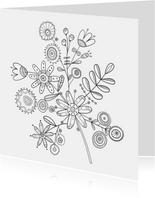 Kleurplaatkaart  bloemenkaart handgetekend bloemen