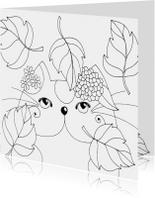 Kleurplaatkaart Kat in de herfst - SK