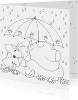 Kleurplaatkaart kat onder paraplu - SK