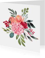 Kleurrijk aquarel kaart met bloemen boeket