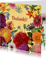 Kleurrijke bloemen bedank kaart