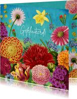 Kleurrijke bloemen felicitatiekaart