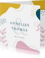 Kleurrijke botanische trouwkaart
