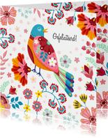 Kleurrijke botanische verjaardagskaart vogel