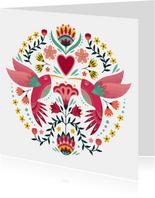 Kleurrijke dierenkaart met sierlijke colibri