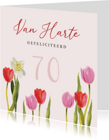 Kleurrijke kaart met bloemen en stijlvolle typografie