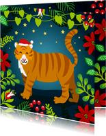 Kleurrijke kerstkaart met tijger in de jungle