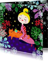 Kleurrijke kerstkaart met vrolijke dame en kat