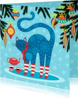 Kleurrijke kerstkaart met vrolijke kat