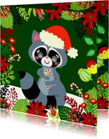 Kleurrijke kerstkaart met wasbeer en bloemen