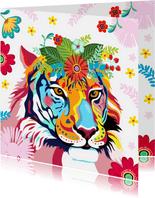 Kleurrijke tijger met bloementooi verjaardagskaart.
