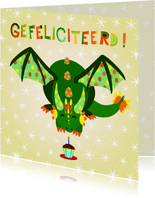 Kleurrijke verjaardagskaart groene draak