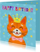 Kleurrijke verjaardagskaart met rode kater met kroon