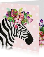 Kleurrijke verjaardagskaart zebra bloemenkroon