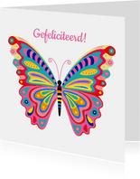 Kleurrijke vlinder verjaardagskaart