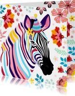 Kleurrijke zebra verjaardagskaart met bloemen