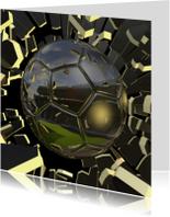 Knallende voetbalkaart  bal en stadion