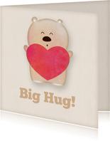 Knuffelkaart met beer en een hart big hug!