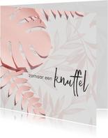 Knuffelkaart met roze bloemen