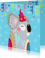 Koala verjaardagskaart met confetti en slingers