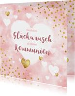 Kommunion Glückwunschkarte Herzen Aquarell