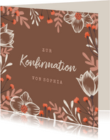 Konfirmation Glückwunschkarte Blumenrahmen