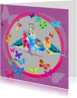 Verjaardagskaarten - Koninklijke vogels met vlinders