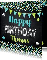 Verjaardagskaarten - Krijtbord confetti slinger verjaardagskaart