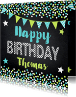 Krijtbord confetti slinger verjaardagskaart