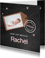 Krijtbord geboortekaartje Rachel