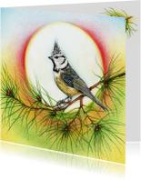 Kerstkaarten - Kuifmeesje in een dennenboom