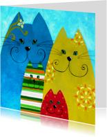 Kunstkaart eigenwijze katten