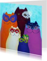 Kunstkaart Katten carnaval Venetie