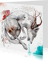 Kunstkaart met krachtige wolfachtig dier