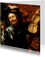 Kunstkaart van Gerrit van Honthorst. De vrolijke speelman