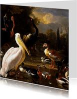 Kunstkaart van Melcior d'Hondecoeter. Het drijvend veertje