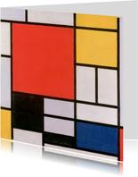 Kunstkaart van Piet Mondriaan. Compositie in rood, blauw en