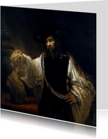 Kunstkaart van Rembrandt van Rijn. Aristoteles met de buste