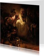 Kunstkaart van Rembrandt van Rijn. Verloochening van Petrus