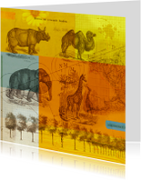 Kunstkaart wilde dieren-HR