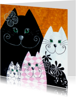 Kunstkaart Zwart Roze katten