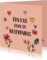 Kus door de brievenbus - hearts and flowers - zomaarkaart