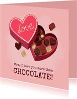 Lekkere moederdag kaart met doos bonbons en grappige tekst