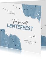 Lentefeest uitnodiging blauw verf pijltje foto communie