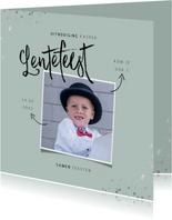 Lentefeest uitnodiging hip met foto en zilveren spetters